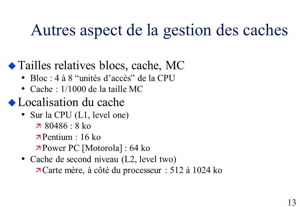 13 Autres aspect de la gestion des caches Tailles relatives blocs, cache, MC Bloc : 4 à 8 unités daccès de la CPU Cache : 1/1000 de la taille MC Local