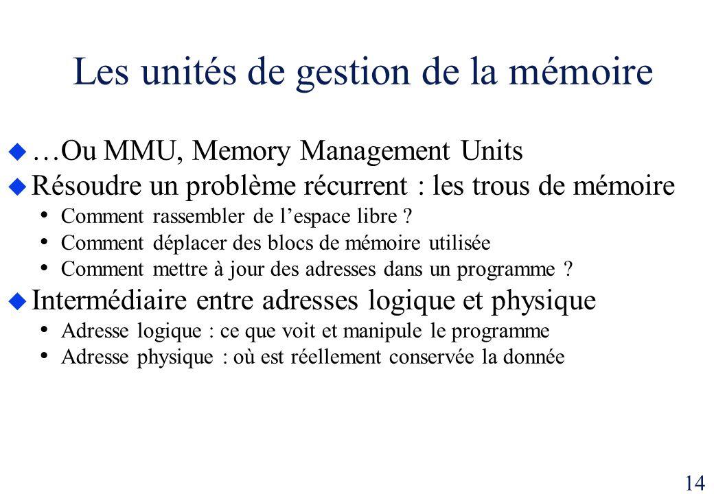 14 Les unités de gestion de la mémoire …Ou MMU, Memory Management Units Résoudre un problème récurrent : les trous de mémoire Comment rassembler de le