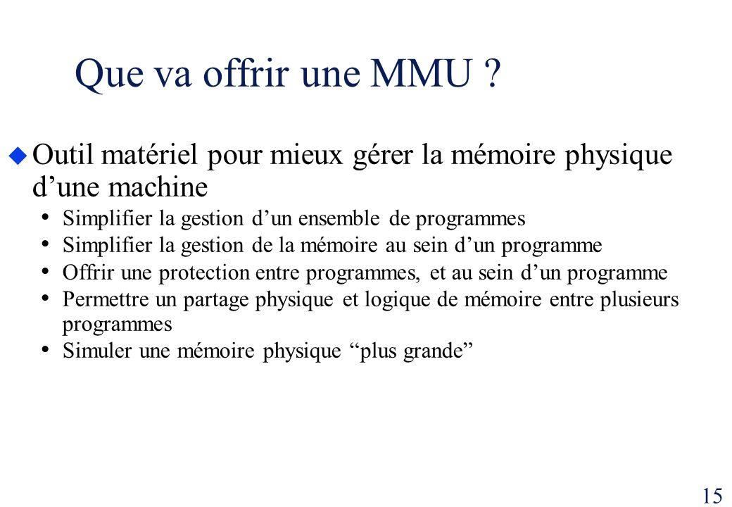15 Que va offrir une MMU ? Outil matériel pour mieux gérer la mémoire physique dune machine Simplifier la gestion dun ensemble de programmes Simplifie