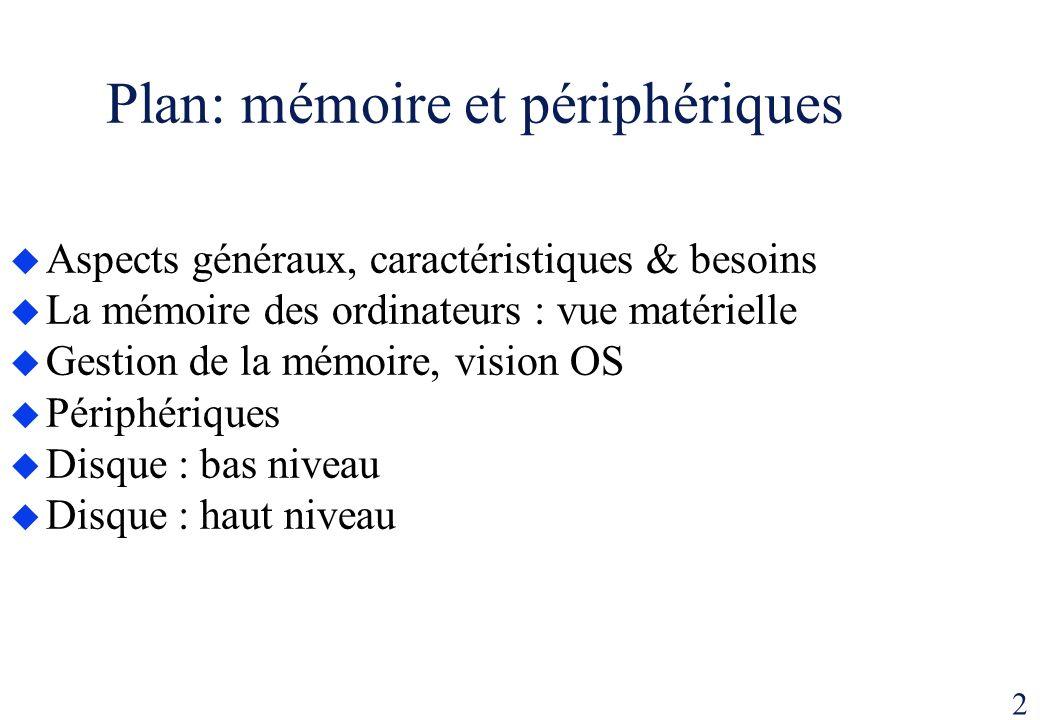 2 Plan: mémoire et périphériques Aspects généraux, caractéristiques & besoins La mémoire des ordinateurs : vue matérielle Gestion de la mémoire, visio