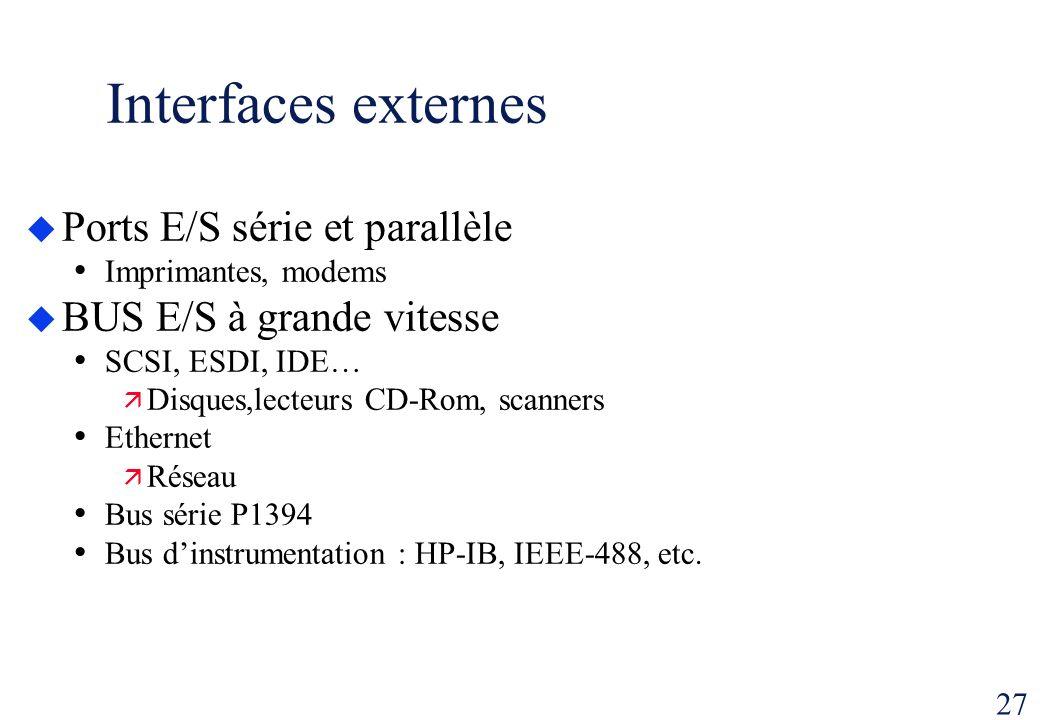 27 Interfaces externes Ports E/S série et parallèle Imprimantes, modems BUS E/S à grande vitesse SCSI, ESDI, IDE… Disques,lecteurs CD-Rom, scanners Et