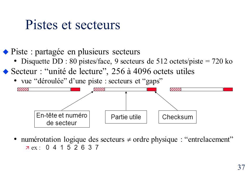 37 Pistes et secteurs Piste : partagée en plusieurs secteurs Disquette DD : 80 pistes/face, 9 secteurs de 512 octets/piste = 720 ko Secteur : unité de