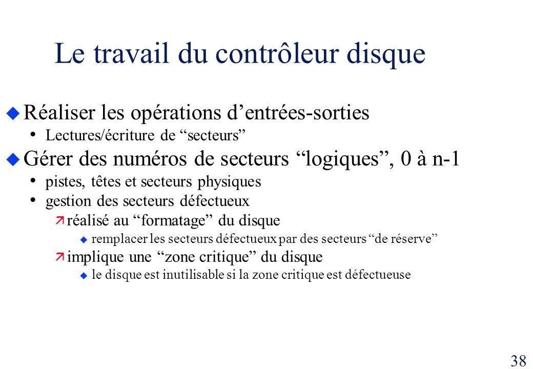 38 Le travail du contrôleur disque Réaliser les opérations dentrées-sorties Lectures/écriture de secteurs Gérer des numéros de secteurs logiques, 0 à