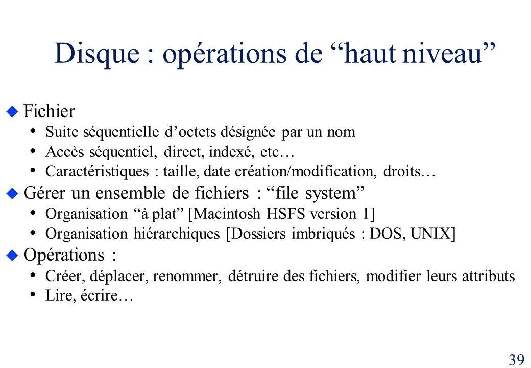 39 Disque : opérations de haut niveau Fichier Suite séquentielle doctets désignée par un nom Accès séquentiel, direct, indexé, etc… Caractéristiques :
