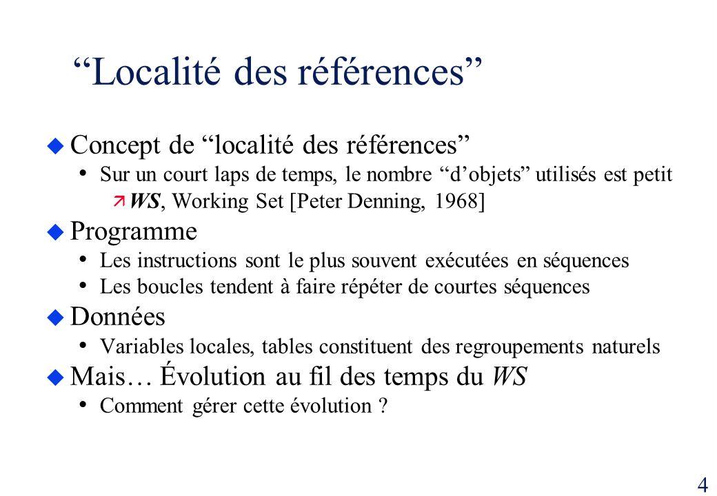 4 Localité des références Concept de localité des références Sur un court laps de temps, le nombre dobjets utilisés est petit WS, Working Set [Peter D