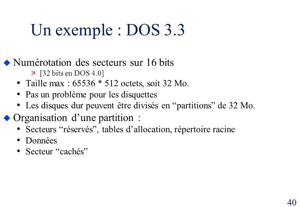 40 Un exemple : DOS 3.3 Numérotation des secteurs sur 16 bits [32 bits en DOS 4.0] Taille max : 65536 * 512 octets, soit 32 Mo. Pas un problème pour l