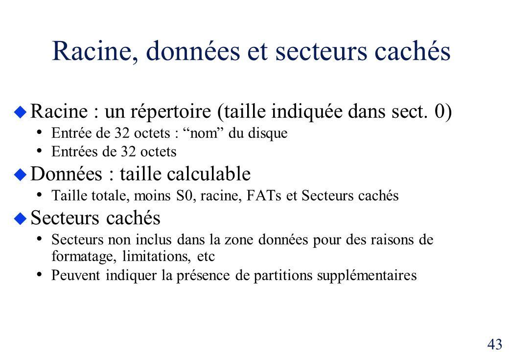 43 Racine, données et secteurs cachés Racine : un répertoire (taille indiquée dans sect. 0) Entrée de 32 octets : nom du disque Entrées de 32 octets D