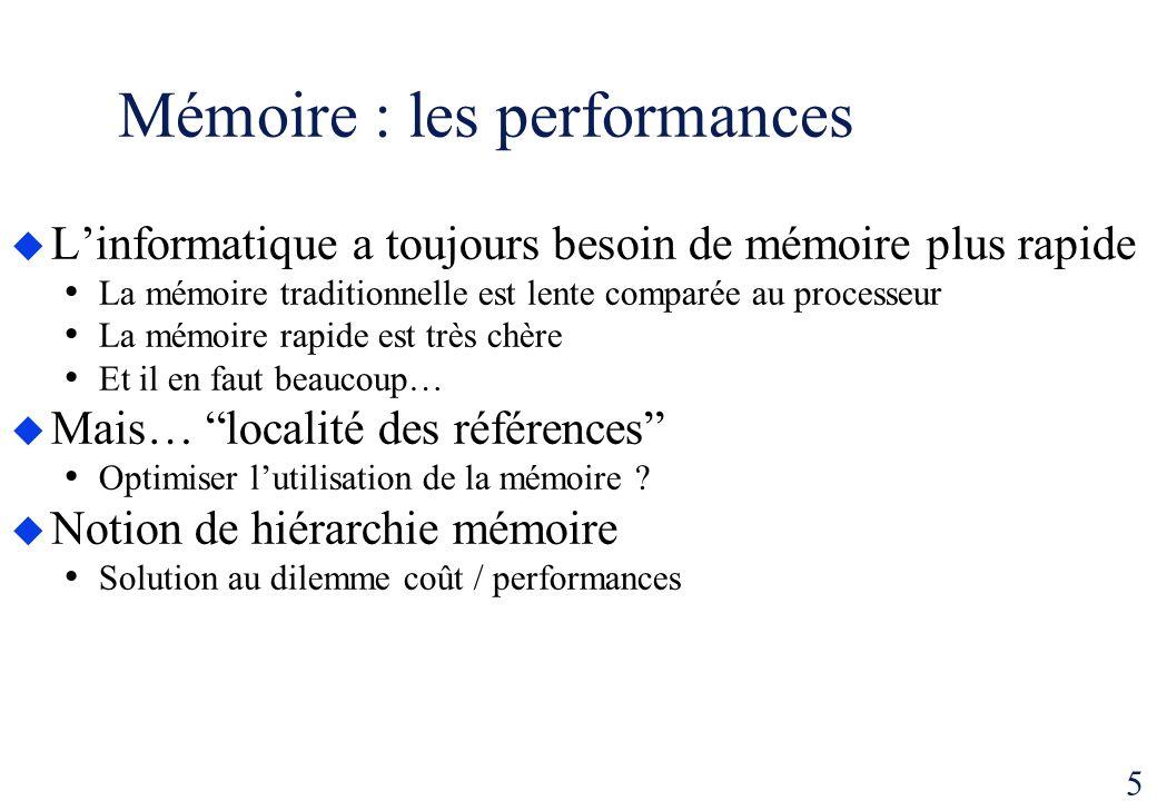 5 Mémoire : les performances Linformatique a toujours besoin de mémoire plus rapide La mémoire traditionnelle est lente comparée au processeur La mémo