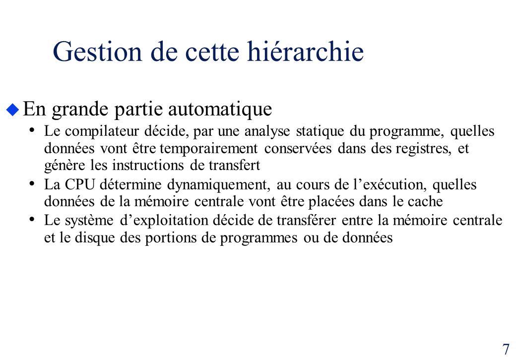 7 Gestion de cette hiérarchie En grande partie automatique Le compilateur décide, par une analyse statique du programme, quelles données vont être tem