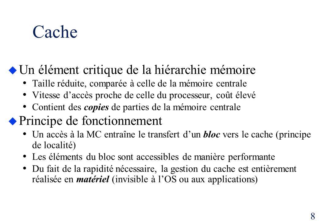 8 Cache Un élément critique de la hiérarchie mémoire Taille réduite, comparée à celle de la mémoire centrale Vitesse daccès proche de celle du process