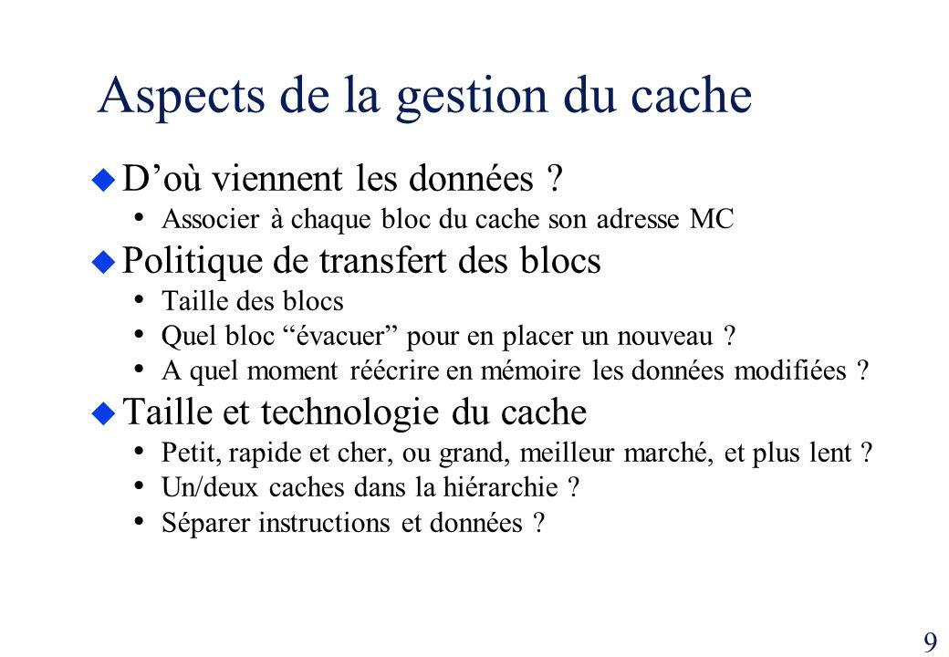 9 Aspects de la gestion du cache Doù viennent les données ? Associer à chaque bloc du cache son adresse MC Politique de transfert des blocs Taille des