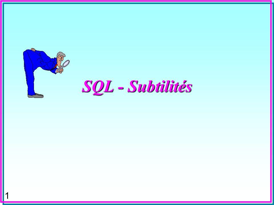 1 SQL - Subtilités