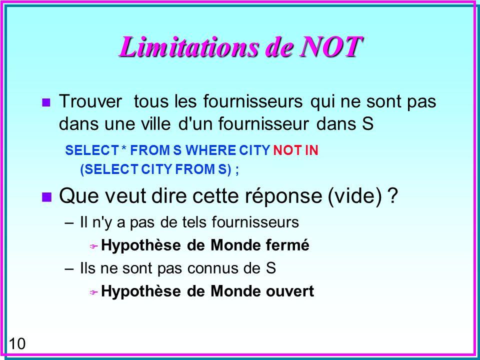 10 Limitations de NOT n Trouver tous les fournisseurs qui ne sont pas dans une ville d'un fournisseur dans S SELECT * FROM S WHERE CITY NOT IN (SELECT