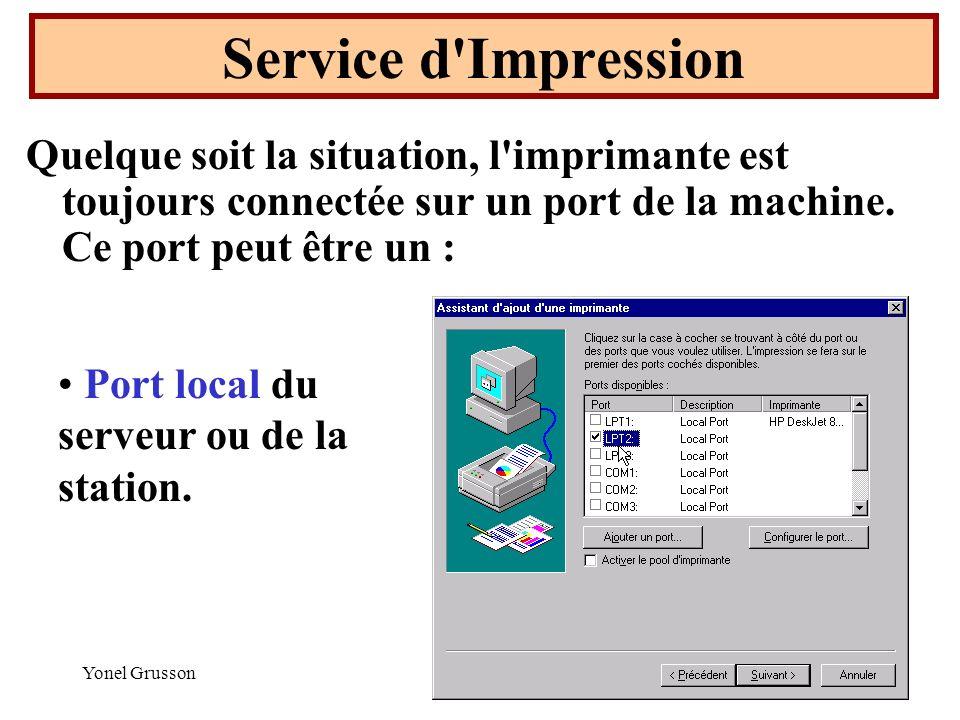 Yonel Grusson16 Service d'Impression Quelque soit la situation, l'imprimante est toujours connectée sur un port de la machine. Ce port peut être un :