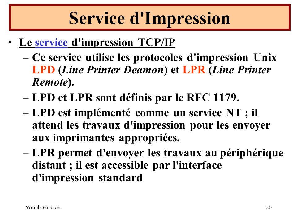 Yonel Grusson20 Le service d'impression TCP/IP –Ce service utilise les protocoles d'impression Unix LPD (Line Printer Deamon) et LPR (Line Printer Rem