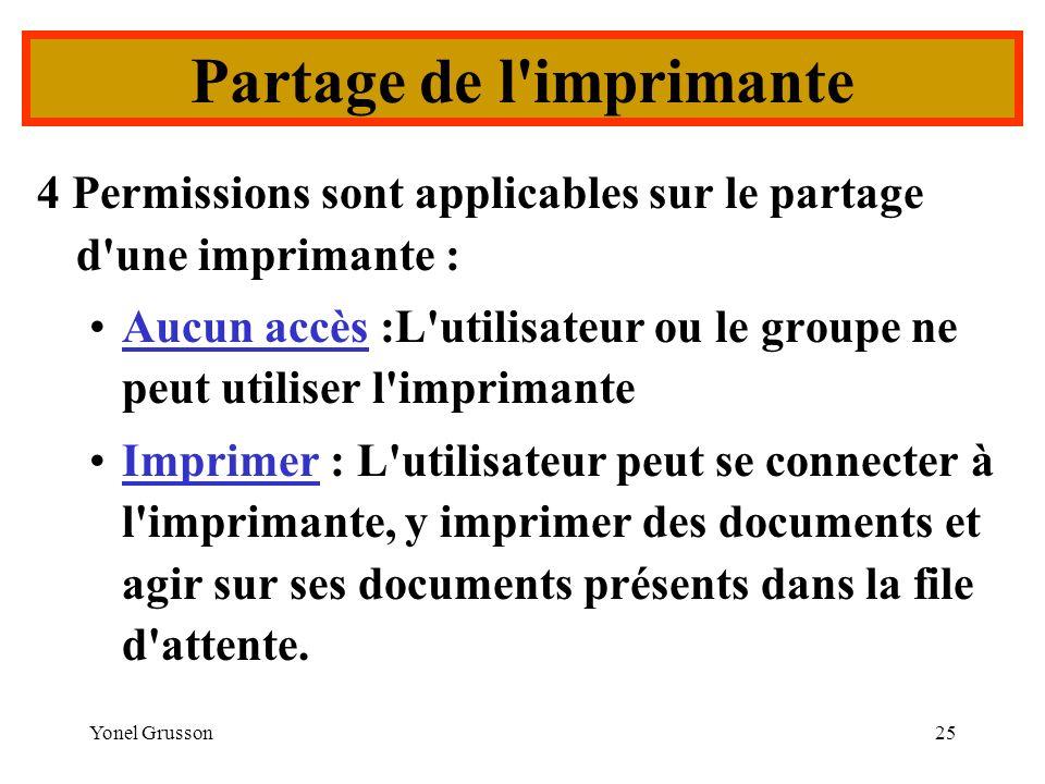 Yonel Grusson25 4 Permissions sont applicables sur le partage d'une imprimante : Aucun accès :L'utilisateur ou le groupe ne peut utiliser l'imprimante