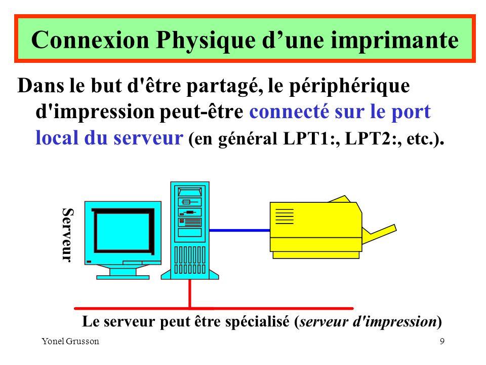 Yonel Grusson9 Dans le but d'être partagé, le périphérique d'impression peut-être connecté sur le port local du serveur (en général LPT1:, LPT2:, etc.