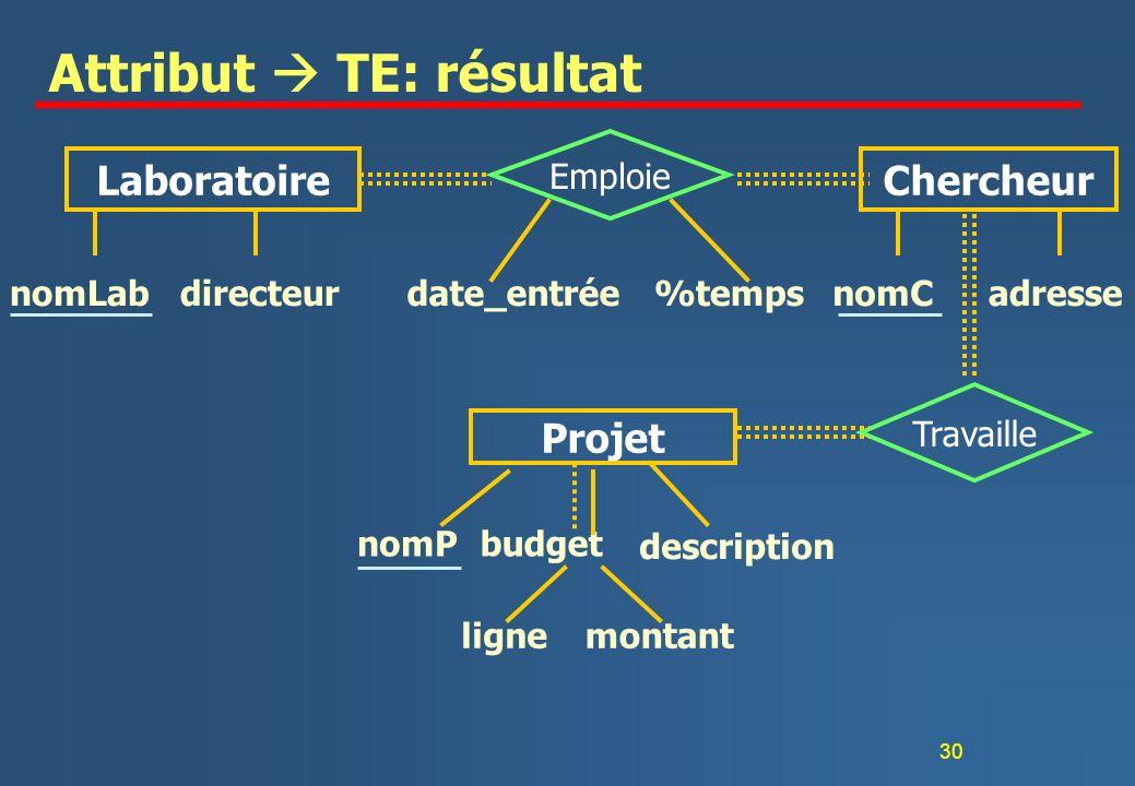 30 Attribut TE: résultat nomLabdirecteurnomCadressedate_entrée%temps LaboratoireChercheur Emploie nomPbudget lignemontant Projet description Travaille