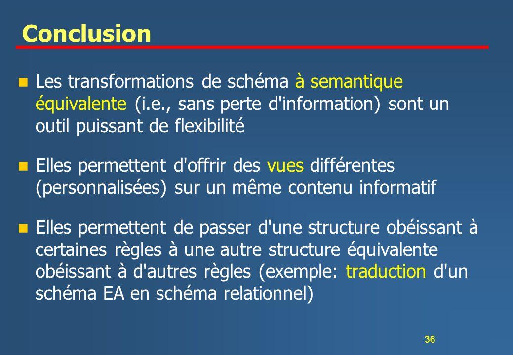 36 Conclusion n Les transformations de schéma à semantique équivalente (i.e., sans perte d'information) sont un outil puissant de flexibilité n Elles