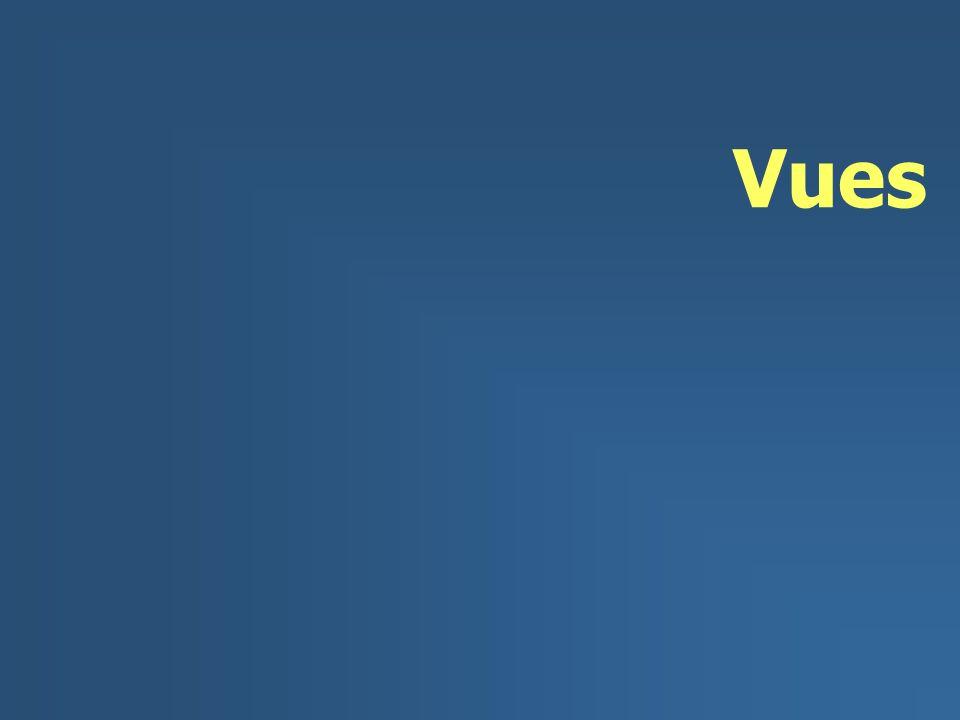 2/51 Vues n Table deriveé des tables existants (table de base) u Accès adapte a besoin d application (couche externe) u Stockage des requêtes u Protection des donneés n Utilization u Recherche comme table de base u MAJ largement limiteé