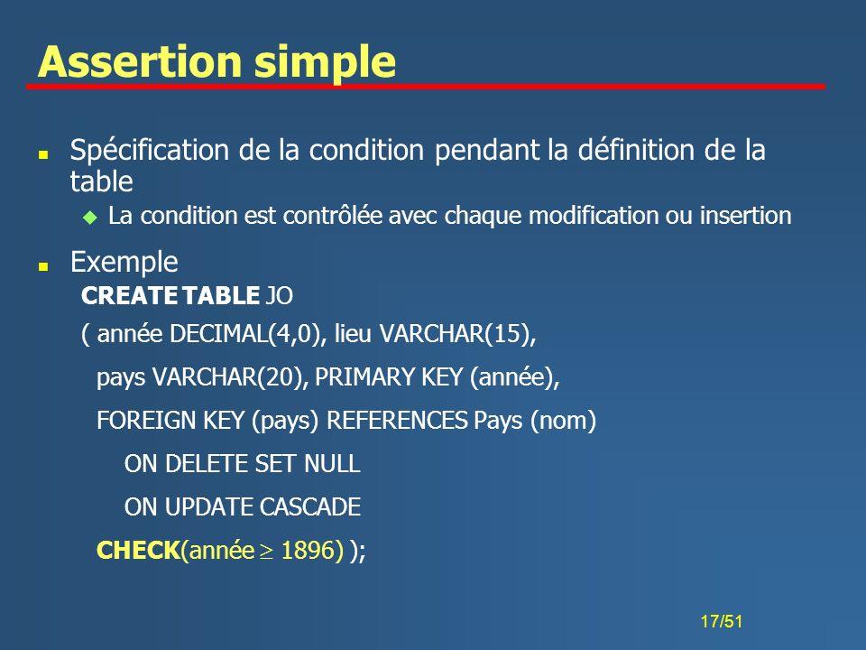 17/51 Assertion simple n Spécification de la condition pendant la définition de la table u La condition est contrôlée avec chaque modification ou inse