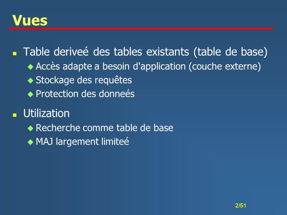 2/51 Vues n Table deriveé des tables existants (table de base) u Accès adapte a besoin d'application (couche externe) u Stockage des requêtes u Protec