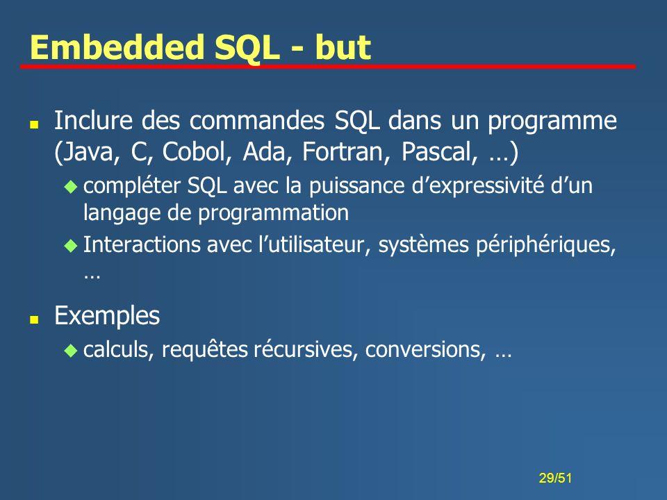 29/51 Embedded SQL - but n Inclure des commandes SQL dans un programme (Java, C, Cobol, Ada, Fortran, Pascal, …) u compléter SQL avec la puissance dex