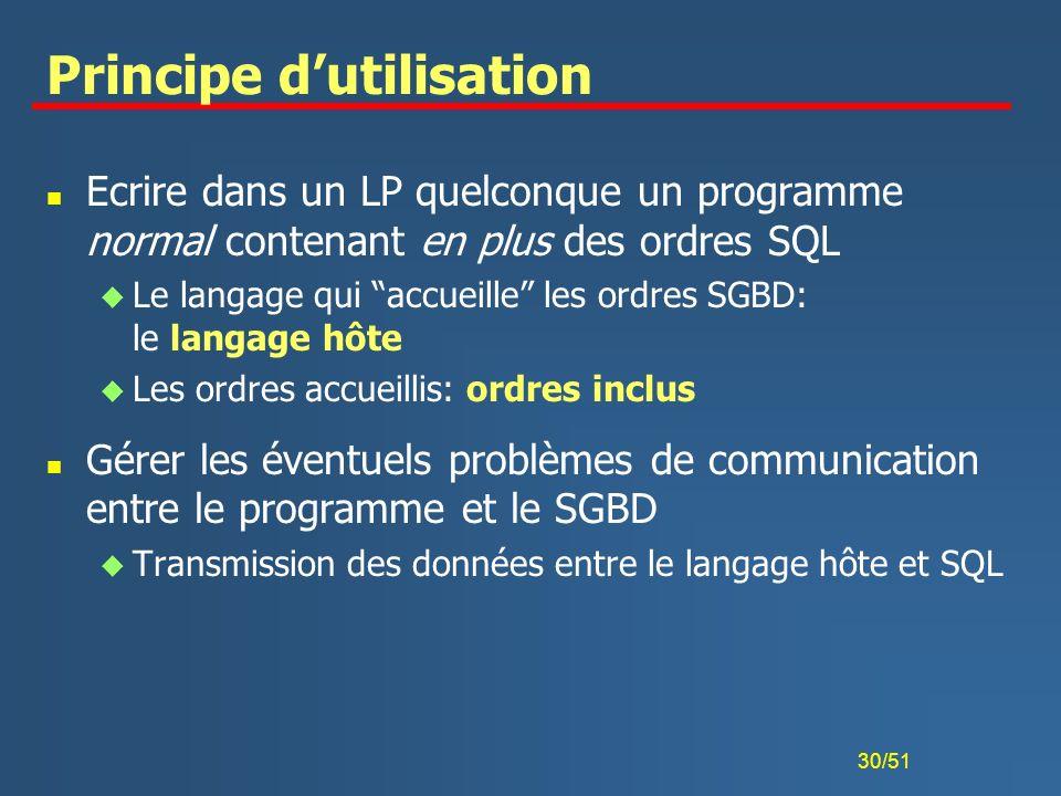 30/51 Principe dutilisation n Ecrire dans un LP quelconque un programme normal contenant en plus des ordres SQL u Le langage qui accueille les ordres