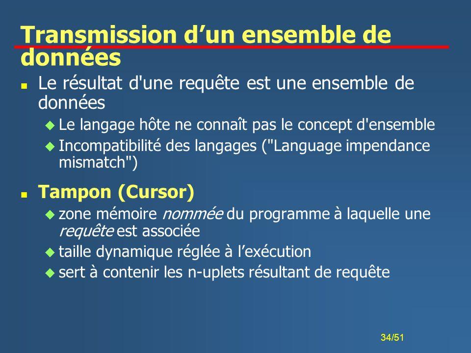 34/51 Transmission dun ensemble de données n Le résultat d'une requête est une ensemble de données u Le langage hôte ne connaît pas le concept d'ensem