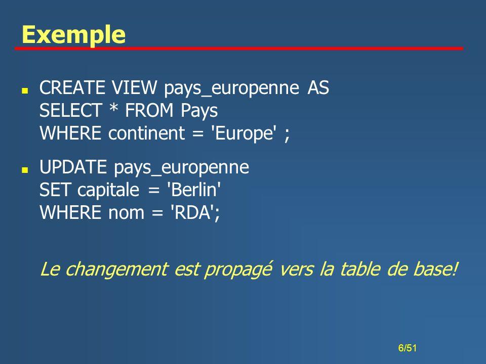 17/51 Assertion simple n Spécification de la condition pendant la définition de la table u La condition est contrôlée avec chaque modification ou insertion n Exemple CREATE TABLE JO ( année DECIMAL(4,0), lieu VARCHAR(15), pays VARCHAR(20), PRIMARY KEY (année), FOREIGN KEY (pays) REFERENCES Pays (nom) ON DELETE SET NULL ON UPDATE CASCADE CHECK(année 1896) );