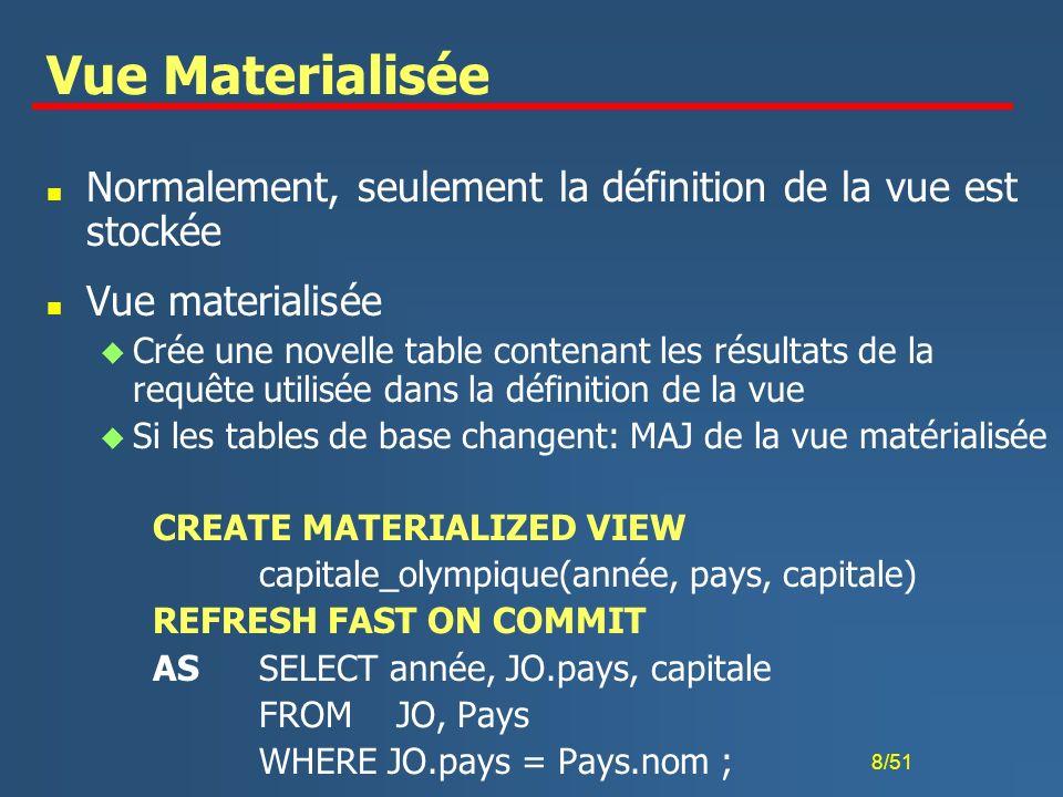 9/51 Commandes sur les vues n CREATE [OR REPLACE] VIEW nom_vue [ ( nv_nom_col)*] AS requête [WITH READ ONLY] [WITH CHECK OPTION] ; u OR REPLACE: remplace une vue existante u WITH READ ONLY: interdit les MAJ u WITH CHECK OPTION: insertions et modifications seulement si le tuple résultant est sélectionné par la vue n DROP VIEW nom_vue; n RENAME nom_vue TO nv_nom; n ALTER VIEW nom_vue COMPILE; u Recalcule une vue