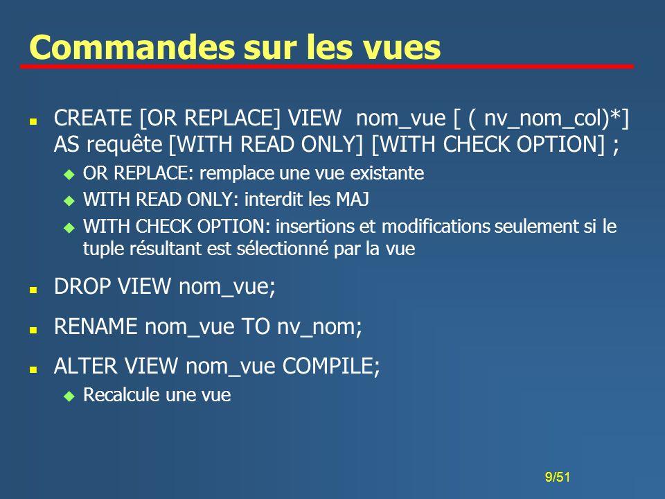 50/51 Tampons dynamiques n Si le résultat d une requête est une ensemble, alors utiliser des tampons dynamiques n Définire des tampons dynamiques similaires à leurs contreparties statiques, mais utiliser u USING pour fournir les paramètres de la rêquete EXEC SQL DECLARE CURSOR FOR stmt; EXEC SQL OPEN USING :var1 [,…,:varn]; EXEC SQL FETCH INTO :out1 [,…,:outk]; EXEC SQL CLOSE ;