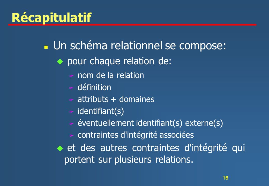 16 Récapitulatif n Un schéma relationnel se compose: u pour chaque relation de: F nom de la relation F définition F attributs + domaines F identifiant