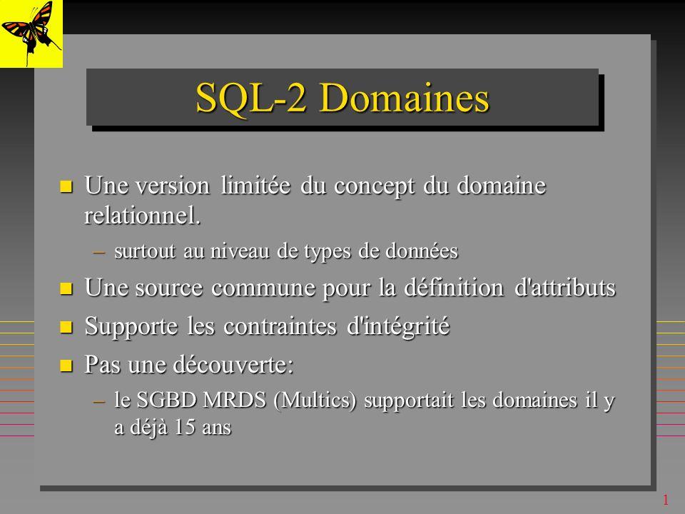 1 On peut créer une table dans une autre base que celle courante (ouverte) On peut créer une table dans une autre base que celle courante (ouverte) –SQL Server, SQL (seulement) de MsAccess, SQL-2 CREATE TABLE AUTRE-BASE.S (S# CHAR (5)NOT NULL, SNAME CHAR (20), STATUSINT, CITYCHAR (15), PRIMARY KEY (S#) ) ; CREATE TABLE (multibase) Base courante Autre-Base