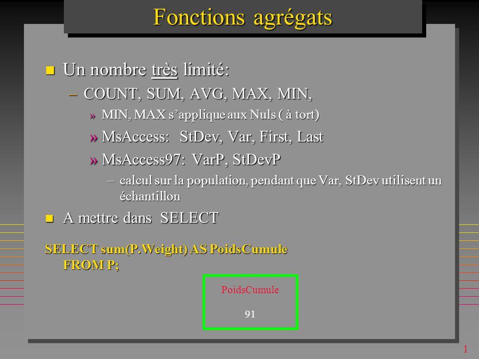1 Clauses de jointures dans le Standard SQL-2 Il y a plusieurs clauses non-implementées explicitement dans aucun SGBD Il y a plusieurs clauses non-implementées explicitement dans aucun SGBD –T1 NATURAL JOIN T2 »remplace T1 INNER JOIN T2 ON T1.J1 = T2.J1 AND … T1.Jn = T2.Jn –S NATURAL FULL OUTER JOIN SP »Crée une seul attribut S# »Comment simuler sous MsAccess .