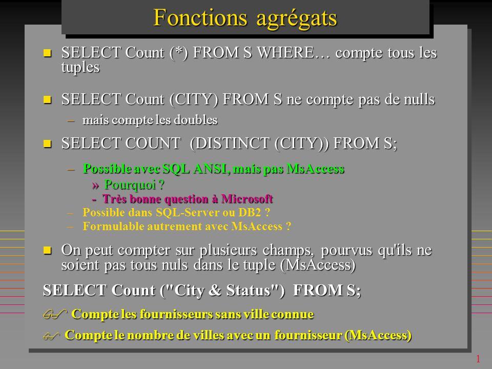 1 Fonctions agrégats Un nombre très limité: Un nombre très limité: –COUNT, SUM, AVG, MAX, MIN, » MIN, MAX sapplique aux Nuls ( à tort) »MsAccess: StDev, Var, First, Last »MsAccess97: VarP, StDevP –calcul sur la population, pendant que Var, StDev utilisent un échantillon A mettre dans SELECT A mettre dans SELECT SELECT sum(P.Weight) AS PoidsCumule FROM P; PoidsCumule 91
