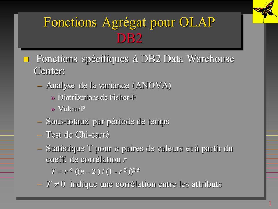 1 Fonctions Agrégat pour OLAP DB2 CountBig CountBig –Pour le nombre de tuples > 2**31 Covariance Covariance –entre des attributs ou des expressions de valeur Correlation Correlation –entre des attributs ou des expressions de valeur Regression functions Regression functions –10 fonctions –Les paramètres de la droite de régression entre des attributs ou des expressions de valeur Rank, Dense_Rank Rank, Dense_Rank