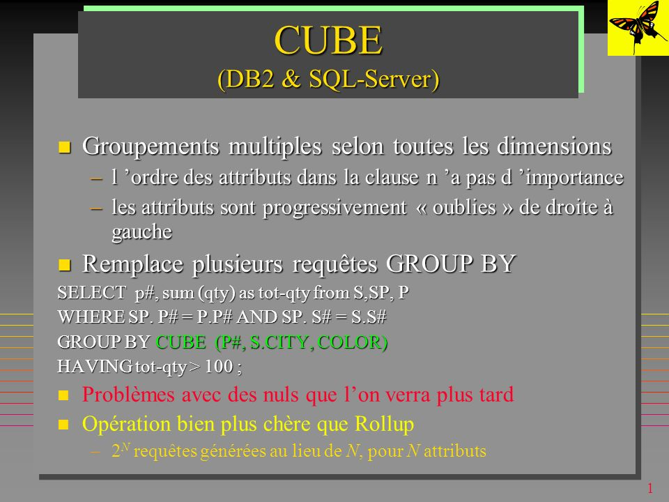 1 ROLLUP (DB2 & SQL-Server) Groupements multiples (super-groupes) selon une dimension Groupements multiples (super-groupes) selon une dimension –l ord
