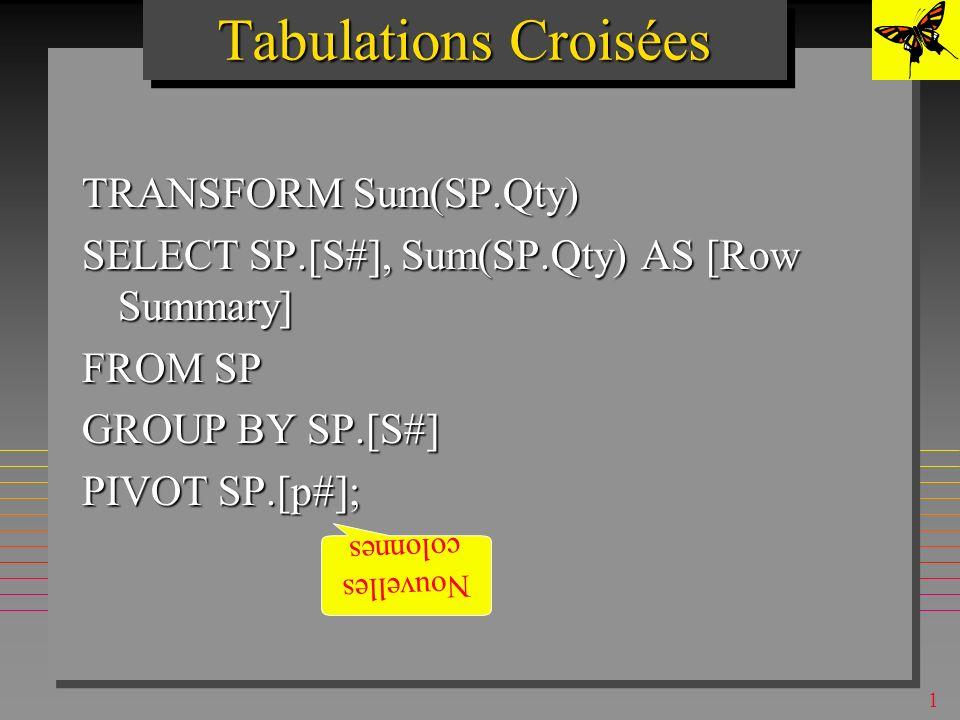 1 Tabulations Croisées (Crosstab queries) Présentent les résultat sous forme habituelle de feuilles de calculs Présentent les résultat sous forme habituelle de feuilles de calculs –Les agrégats SUM, AVG..