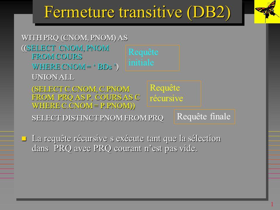 1 Fermeture transitive (DB2) Considère la table COURS (CNOM, PNOM, NMIN) contenant les cours et leur pré-requis avec les notes minimales pour l admission en cours Considère la table COURS (CNOM, PNOM, NMIN) contenant les cours et leur pré-requis avec les notes minimales pour l admission en cours –ex.