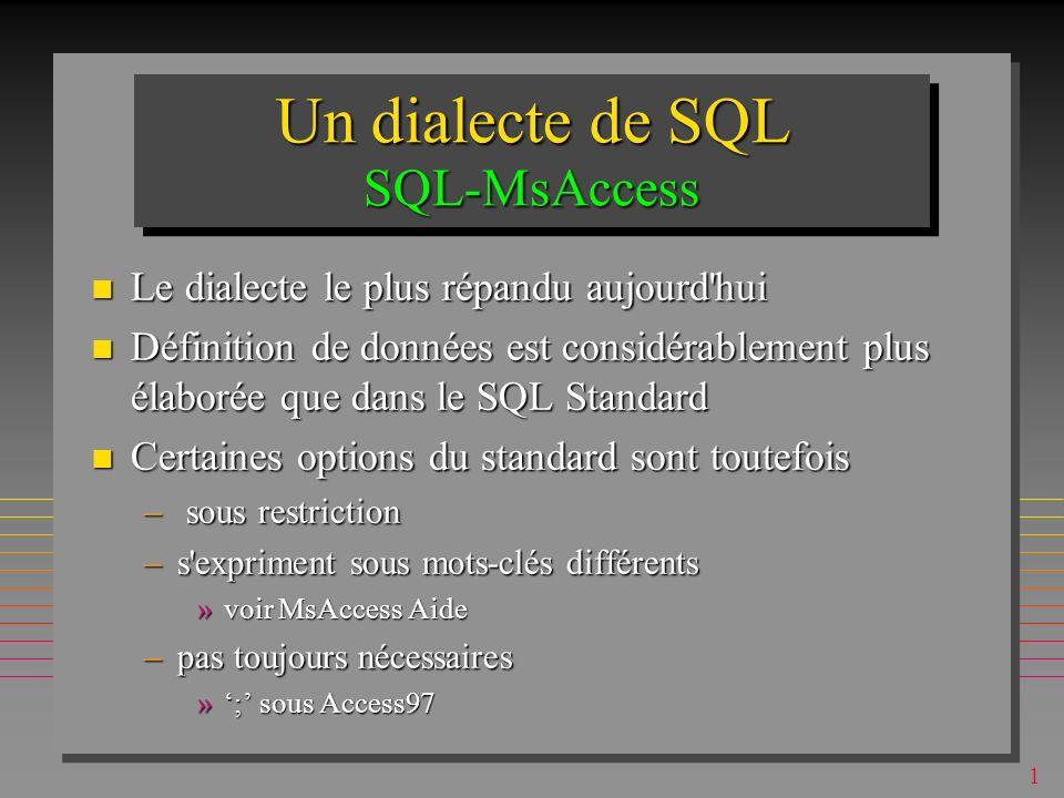 1 IndexesIndexes Définition des indexes ne devait pas être à ce niveau de SQL (c est le schéma interne) Définition des indexes ne devait pas être à ce niveau de SQL (c est le schéma interne) En principe, une table peut avoir un nombre quelconque d indexes En principe, une table peut avoir un nombre quelconque d indexes Les indexes accélèrent les recherches Les indexes accélèrent les recherches Mais, les indexes pénalisent les mises à jour .