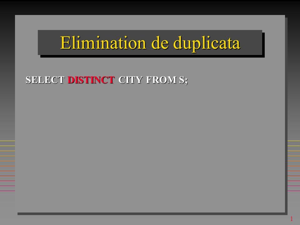 1 Selection avec duplicata SELECT CITY FROM S; –Le resultat peut avoir les duplicata – alors, il n est pas une relation, mais un bag