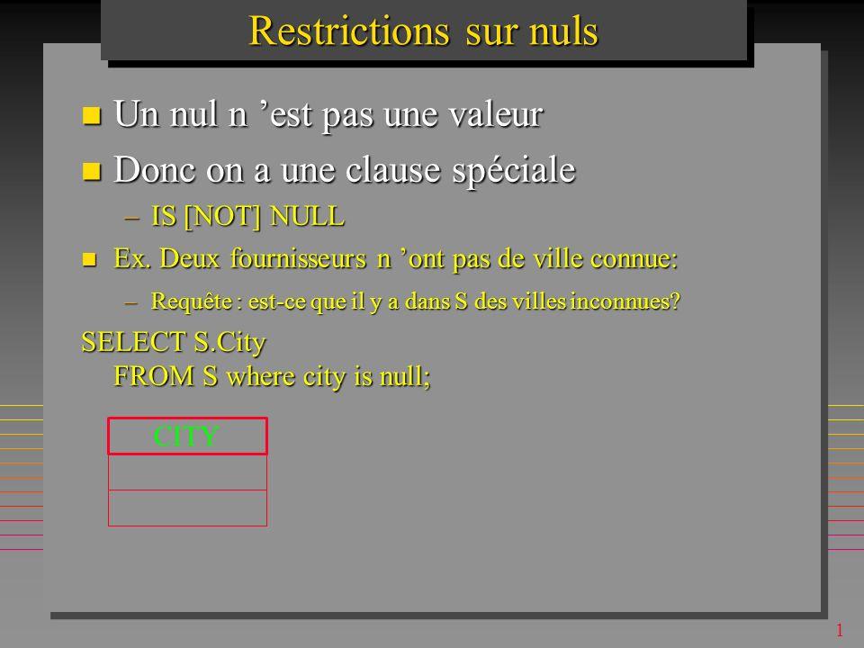 1 Restrictions sur nuls Un nul n est pas une valeur Un nul n est pas une valeur Donc on a une clause spéciale Donc on a une clause spéciale –IS [NOT] NULL Ex.