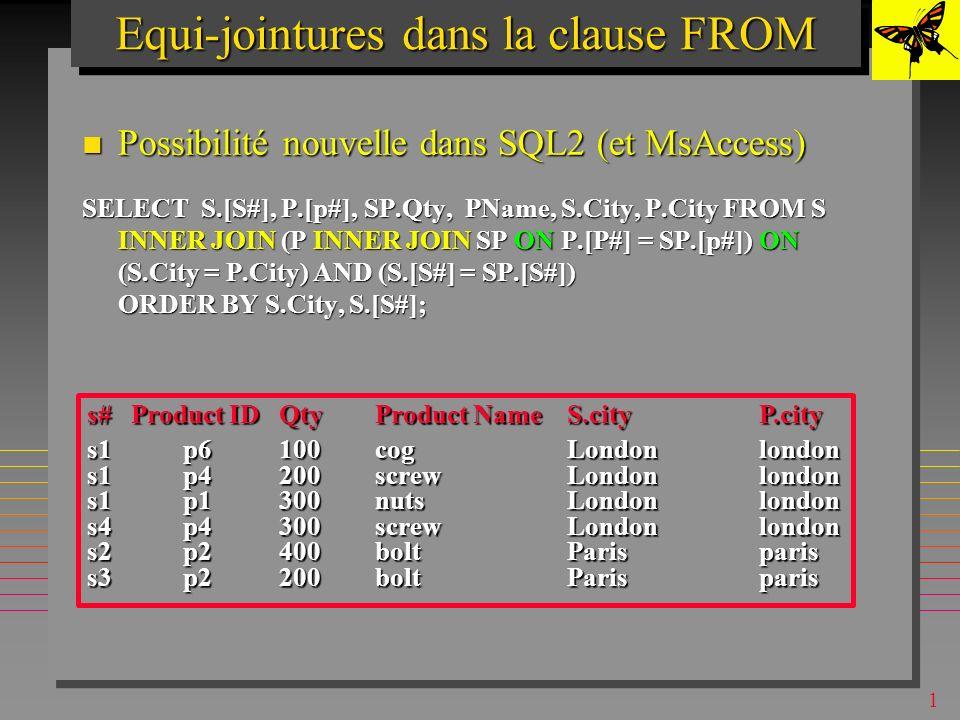 1 Equi-jointuresEqui-jointures Equi-jointures peuvent être formulées pour tout attribut: Equi-jointures peuvent être formulées pour tout attribut: Mais, les types de données à joindre doivent être = compatibles Mais, les types de données à joindre doivent être = compatibles SELECT s.[s#], p.[P#], Qty, Pname, s.city, p.city FROM S, SP, P where s.[s#]=sp.[s#] and sp.[p#]=p.[p#] and s.city=p.city order by s.city, s.[s#]; s#Product IDQtyProduct NameS.cityP.city s1p6100cogLondonlondon s1p4200screwLondonlondon s1p1300nutsLondonlondon s4p4300screwLondonlondon s2p2400boltParisparis s3p2200boltParisparis