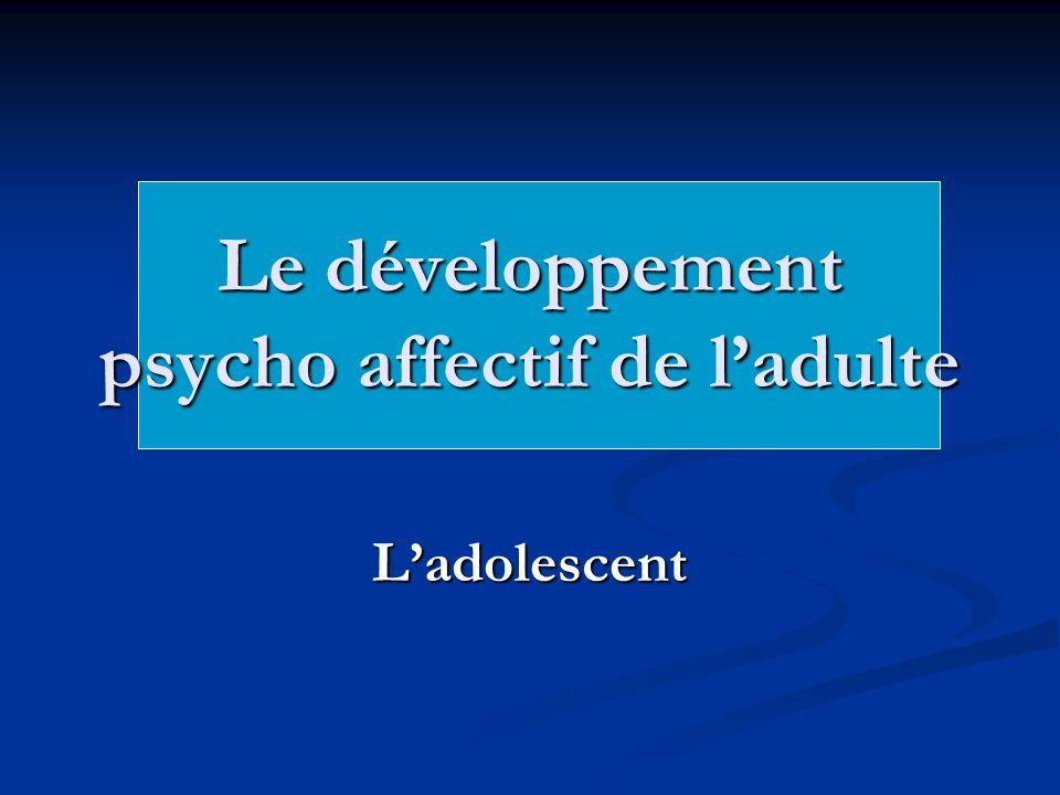 Le développement psycho affectif de ladulte Ladolescent