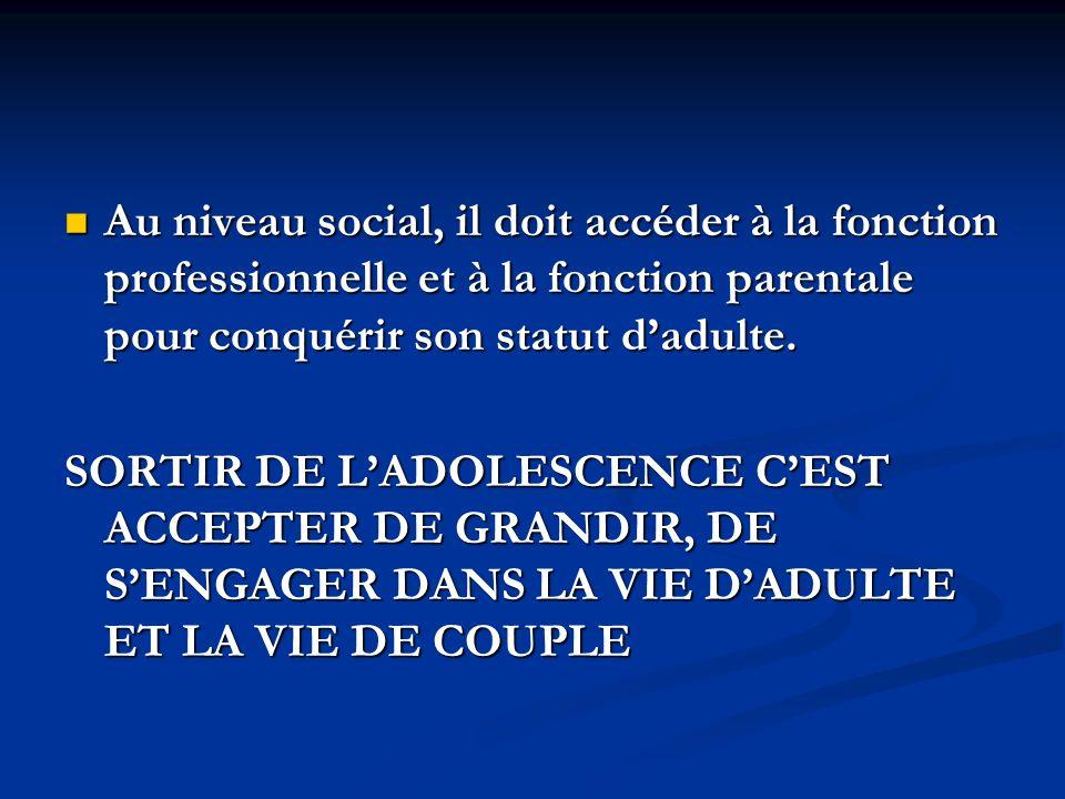 Au niveau social, il doit accéder à la fonction professionnelle et à la fonction parentale pour conquérir son statut dadulte. Au niveau social, il doi