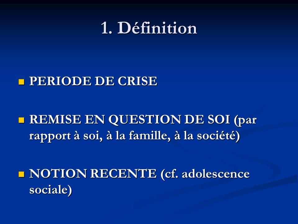 1. Définition PERIODE DE CRISE PERIODE DE CRISE REMISE EN QUESTION DE SOI (par rapport à soi, à la famille, à la société) REMISE EN QUESTION DE SOI (p