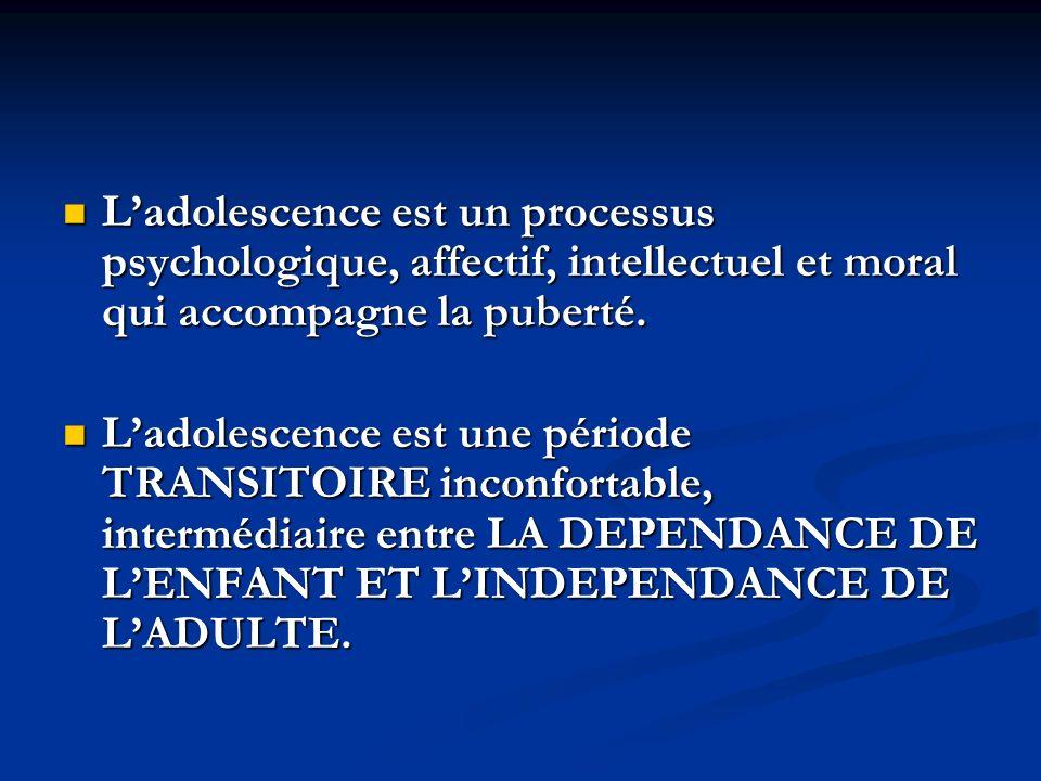Ladolescence est un processus psychologique, affectif, intellectuel et moral qui accompagne la puberté. Ladolescence est un processus psychologique, a