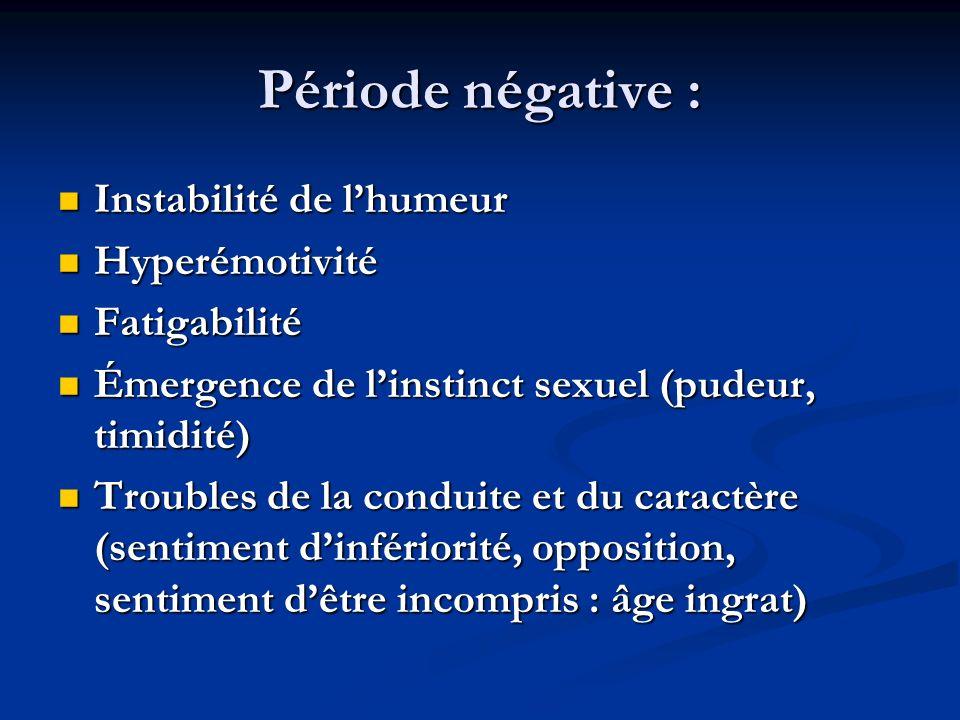Période négative : Instabilité de lhumeur Instabilité de lhumeur Hyperémotivité Hyperémotivité Fatigabilité Fatigabilité Émergence de linstinct sexuel