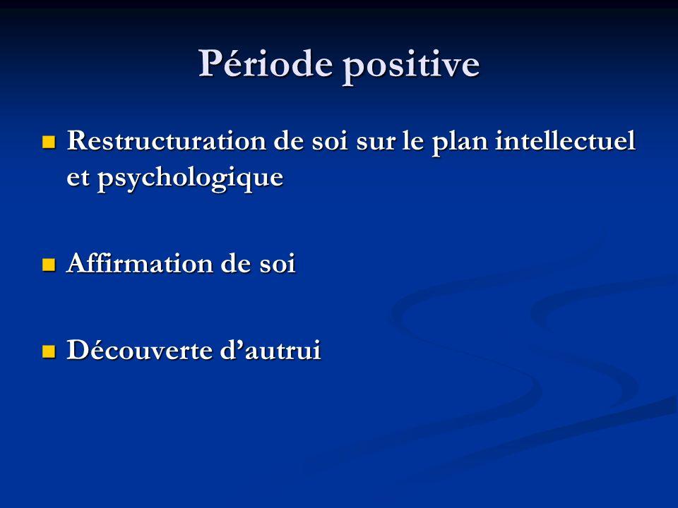 Période positive Restructuration de soi sur le plan intellectuel et psychologique Restructuration de soi sur le plan intellectuel et psychologique Aff